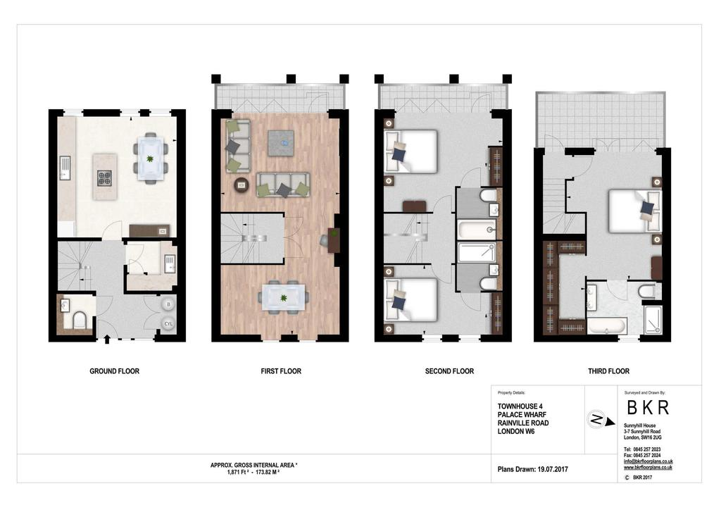 Floorplans For 3 bed / 4 baths Oxbridge Terrace Townhouses, Palace Wharf, W6